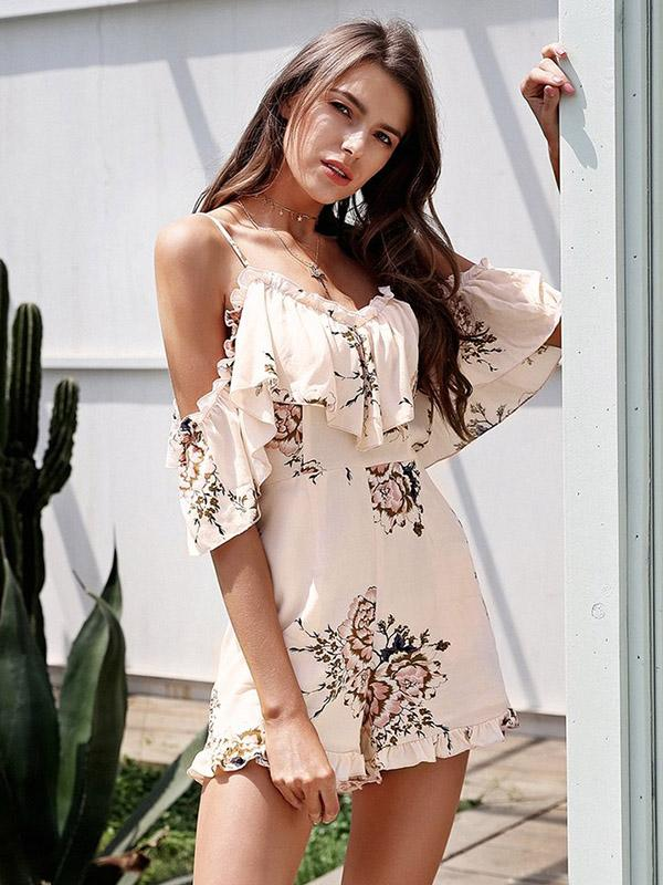 Fashion Spathetti-neck Floral Jumpsuits