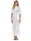 Chiffon Shirt Collar Button Front Bandage Maxi Dress Cover-Ups