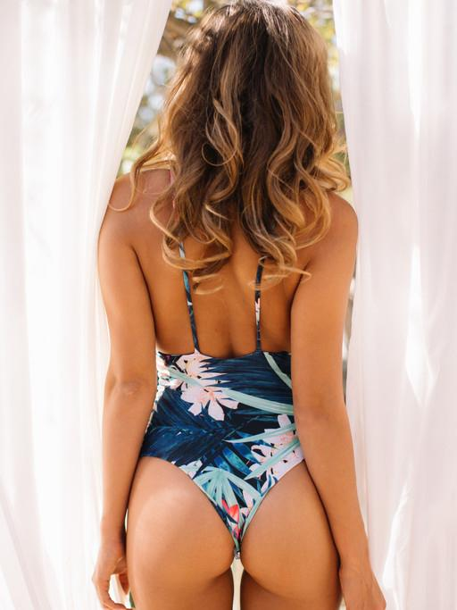 Floral Backless Condole-belt One-piece Swimwear