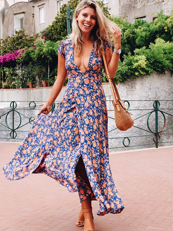 Deep V-neck Floral Maxi Dress