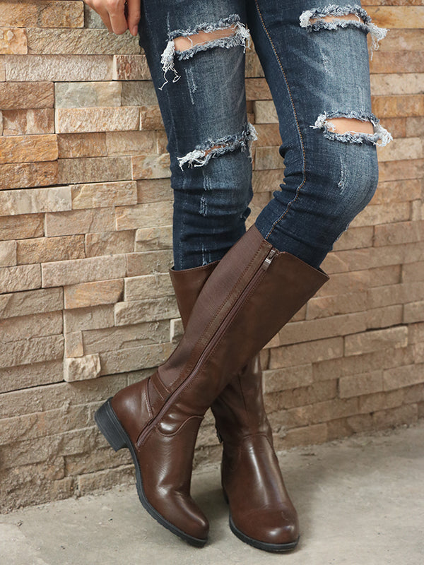 Fashion Chunky Heels Mid Calf Boots