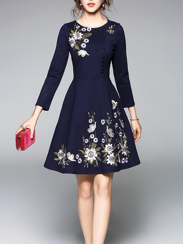Embroidered Slim Fit Mini Dress