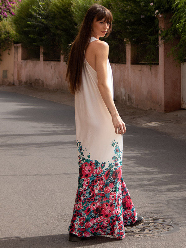 Floral Printed Halterneck Big Hem Maxi Dress