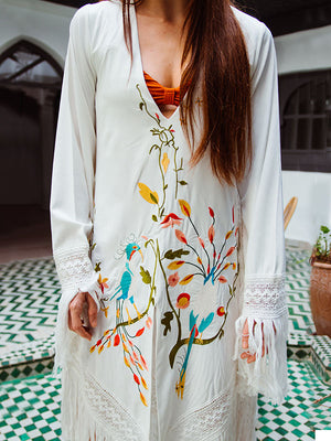 White Tasseled Embroidered Midi Dress