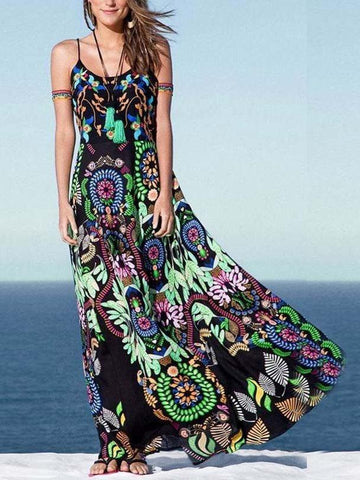 Cat Printed Straps Sleeveless Maxi Dress