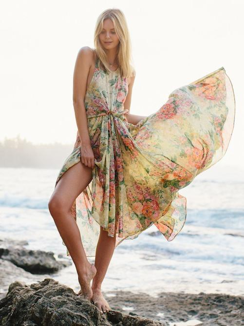Floral Round Neck Backless Backless Maxi Dresses