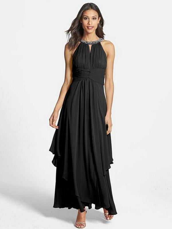 Chiffon Halterneck Beaded Sleeveless Maxi Dress