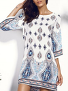 Bohemia Printed Backless Round-neck Mini Dress