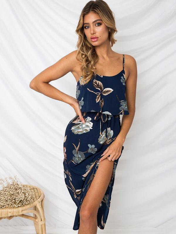 Split-side Condole Belt Printed Maxi Dress