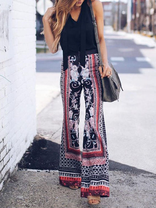 Printed Wide Leg Casual Pants