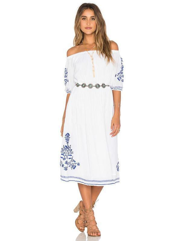 Elegant Inwrought Bohemia Short Sleeve Off-Shoulder Beach Midi Dress