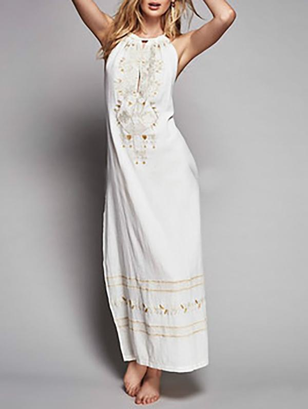 Bohemia Embroidered Backless Maxi Dress