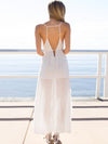 Backless Split-side Condole Belt Maxi Dress