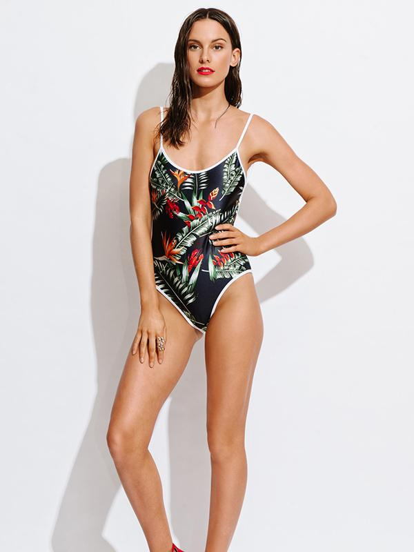 Sexy Floral Halterneck Backless One-Piece Swimwear