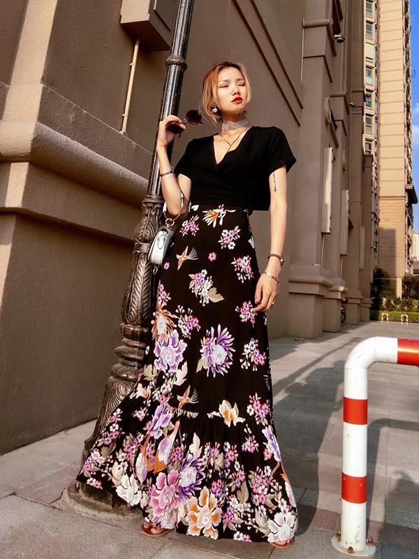 Printed High Waist Bohemia Skirt