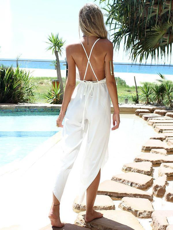 Pretty V-neck Backless Wide Leg Split-side Long Jumpsuits