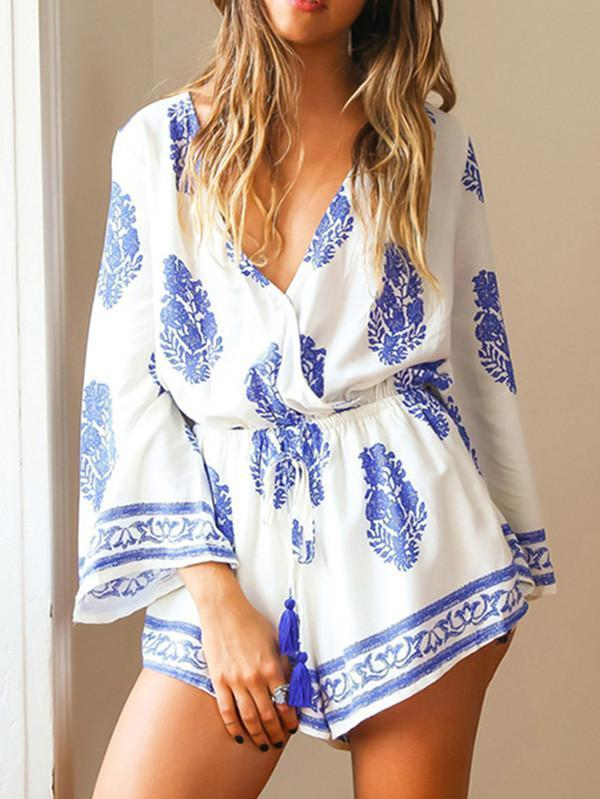 Sweet White and Blue Floral Long Sleeve Deep V Neck Jumpsuit