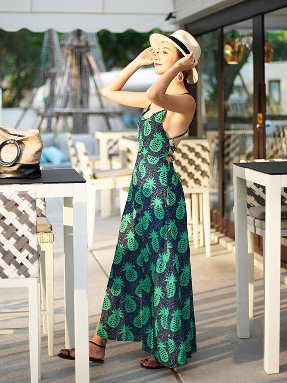 Bohemia Backless Split Maxi Dress