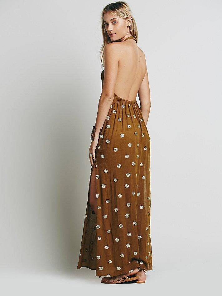 Emboridery Split-side Halterneck Backless Maxi Dress