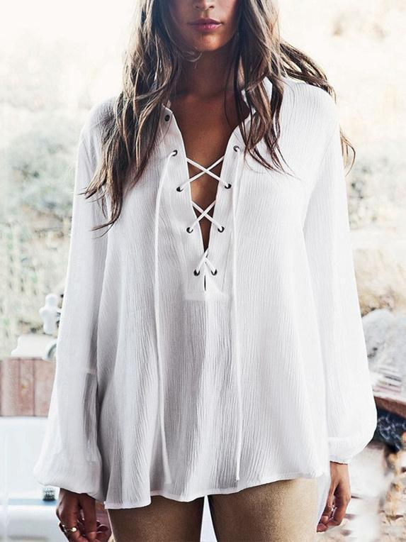 Solid Color Puff Sleeves Blouses&Shirts Top
