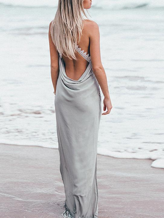 Backless Split-side Maxi Dress