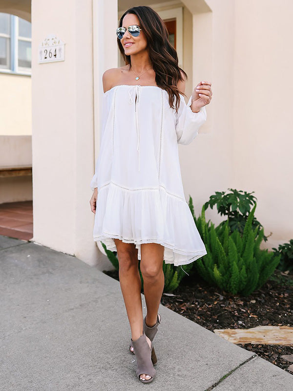 White Lace Off-the-shoulder Long Sleeves Midi Dress