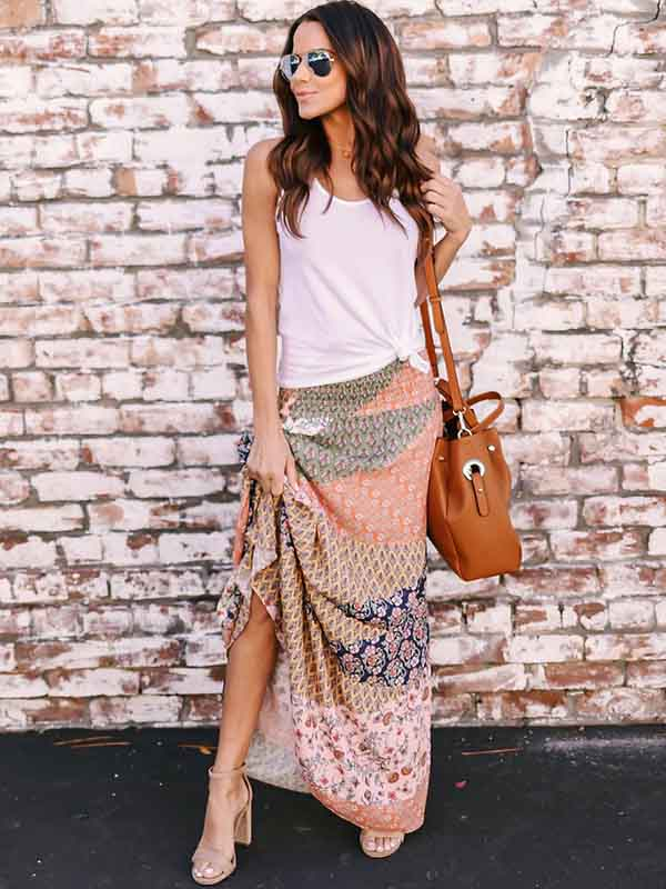 Printed Big Hemline Skirt Bottoms