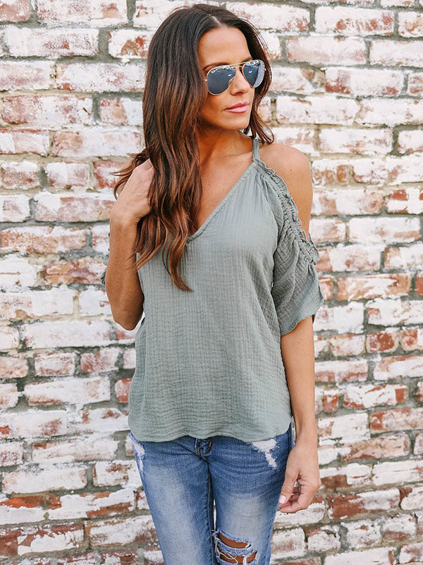 V-neck Half Sleeves Bowknot T-shirt