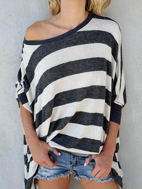 Knitting Stripes Loose Blouses&Shirts Top