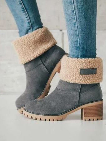 Lace Ribbon Solid color Low-heel Boots Shoes