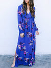 Solid Color V-neck Split-side Maxi Dress