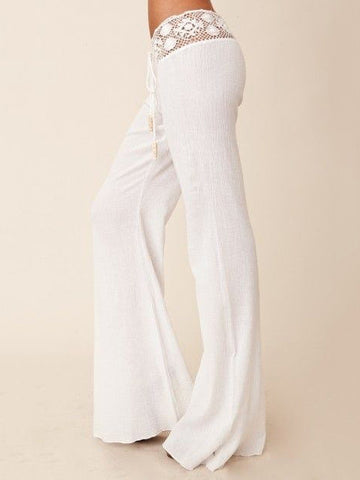 Pretty Split-side Wide Leg Bottom Casual Pants