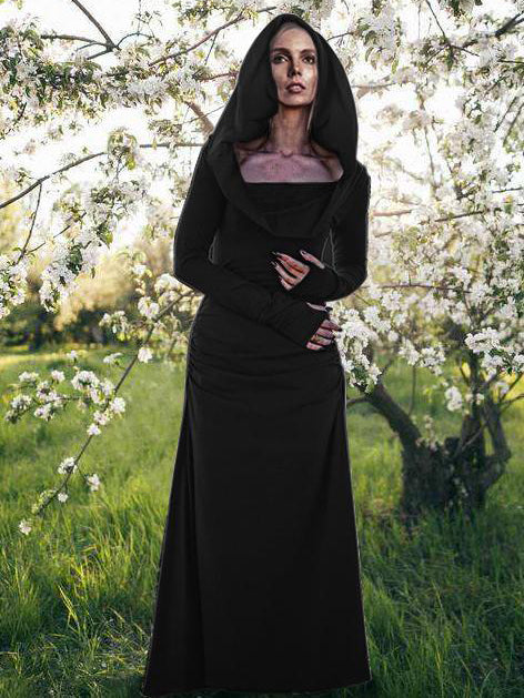Long Sleeved Hooded Forest Gypsy Maxi Dress