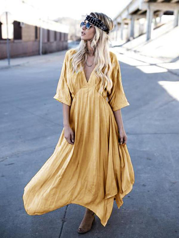 Asymmetric Deep V-neck Maxi Dress