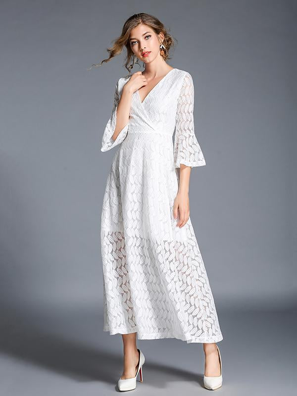 Lace Hollow V-neck Flared Sleeves Maxi Dress