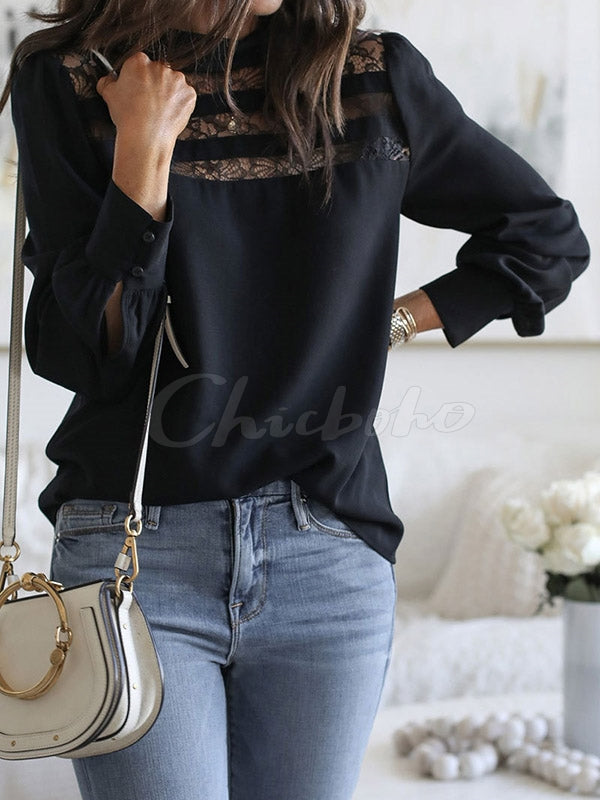 Lace Stitching Long Sleeve T-shirt