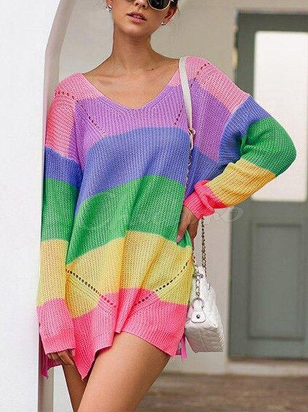 Rainbow Split-side Knitting Sweater