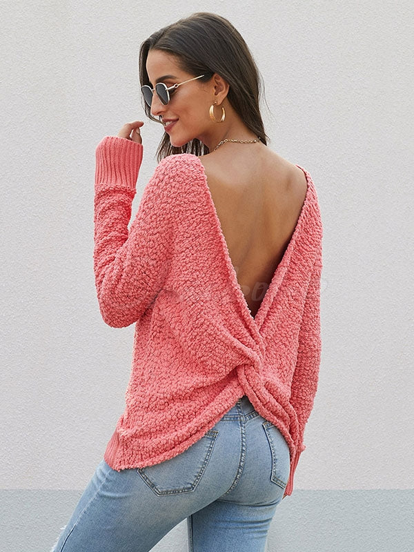 Sexy Backless Plush Knitting Tops