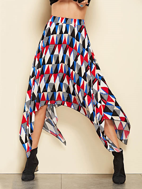 Cropped Geometric Printed Skirt