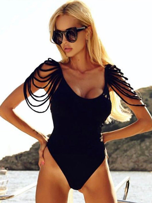 Sexy Backless Tassels One-piece Swimwear