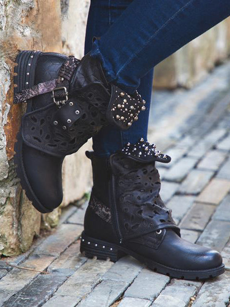 Fashion Rivet Square Heel Boots