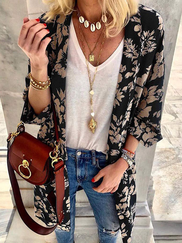 Casual Printed Batwing Sleeves Cover-up