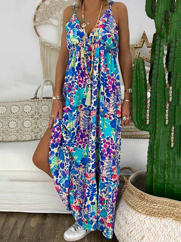 Beach V-neck Printed Spaghetti-neck Maxi Dress