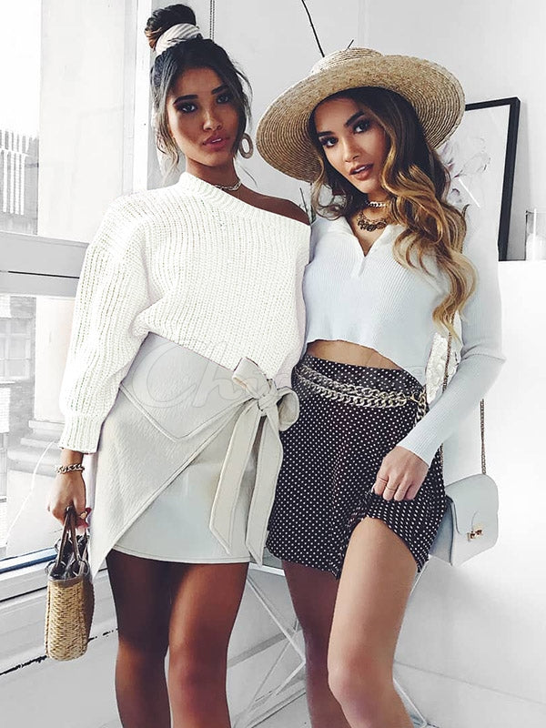 Loose Puff Sleeves Short Sweater Top