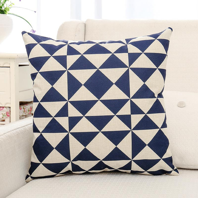 Blue Geometric Printed Cushion Pillow