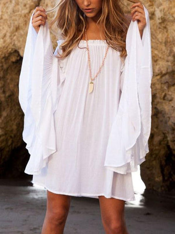 Halterneck Tassels Short Sleeves Mini Dress