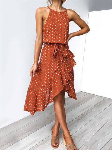 Cozy Printed V-neck Midi Dress