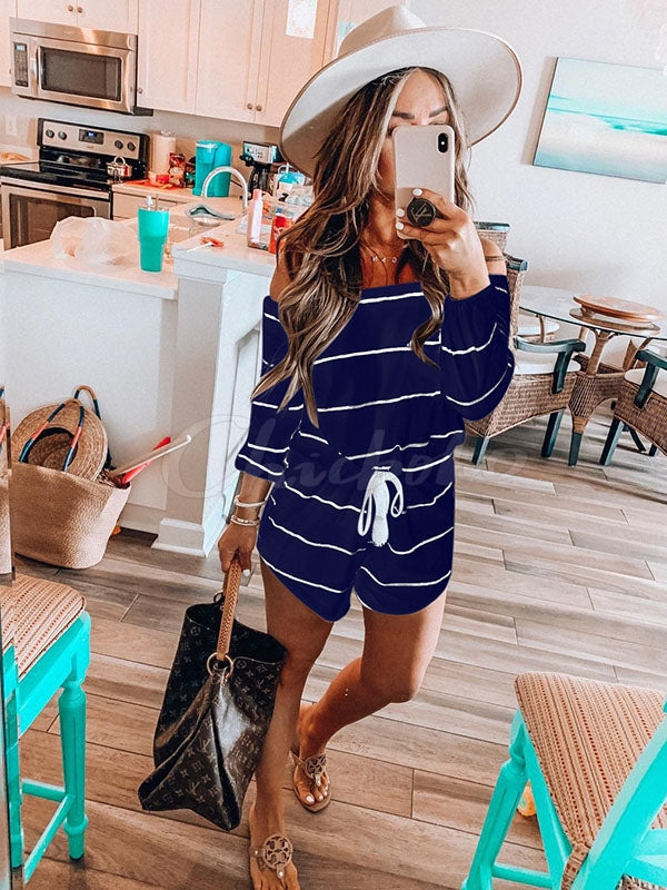Striped Drawstring Collect Waist Rompers