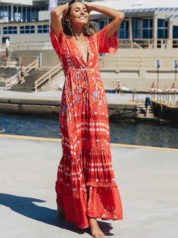 Split-joint Printed Bohemia Maxi Dress