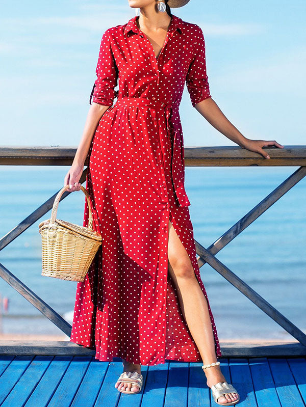 Bohemia Polka-dot Shirt Maxi Dress